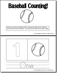 baseball count and color books teaching ideas worksheets