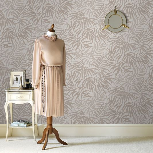 Tropic Beige And Rose Gold Wallpaper