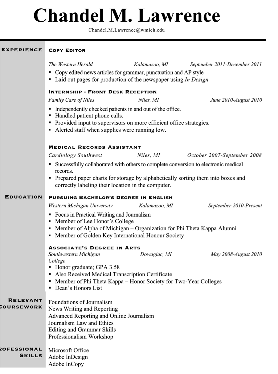 found http chandelmlawrence wordpress news reporter resume example ...