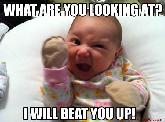 With Those Fists Funny Baby Pictures Angry Baby Baby Memes