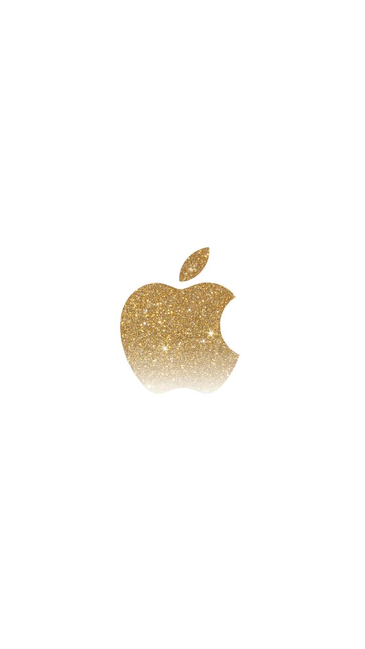 gold gradient glitter apple logo iphone 6 wallpaper