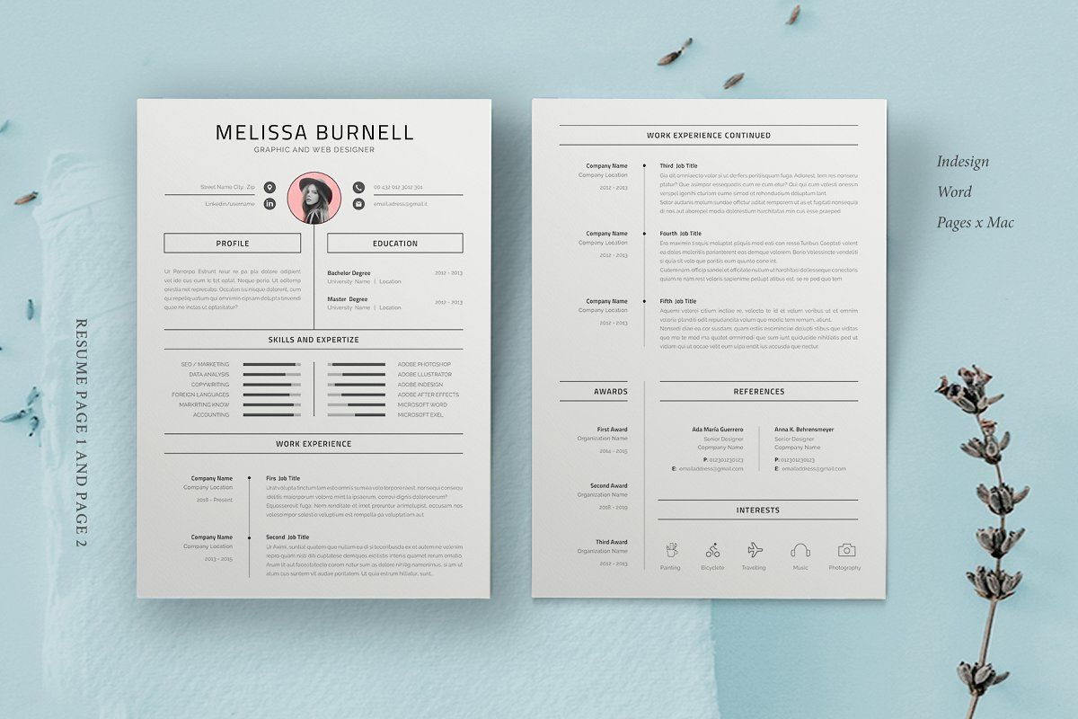 Ad resume template melissa by astut on creativemarket