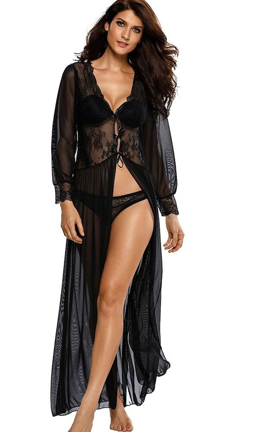 Women s Sexy Sheer Long Sleeve V Neck Lace Robe With Thong Lingerie ... ab1c2025a
