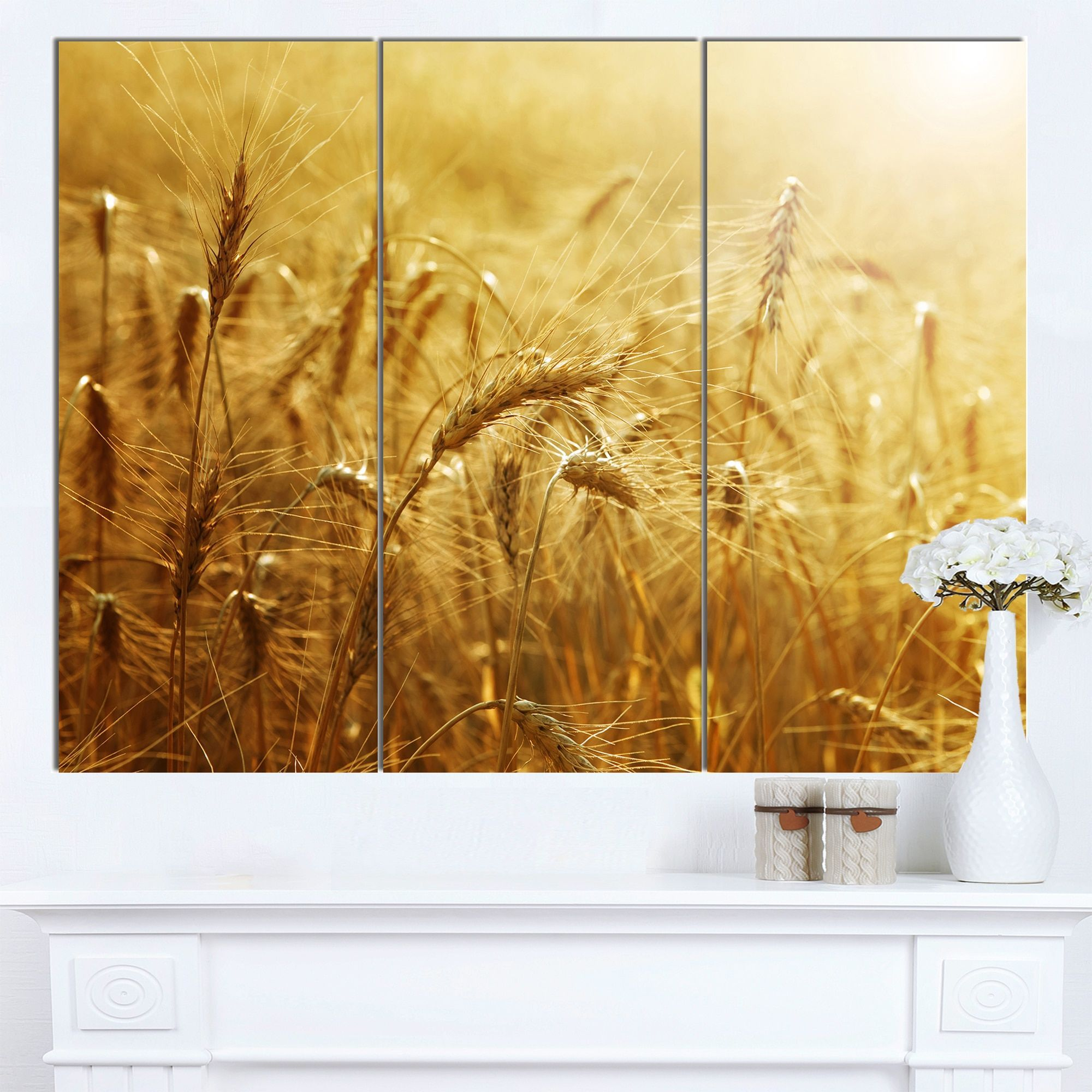Designart \'en Wheat Field\' Landscape Wall Art Print Canvas ...