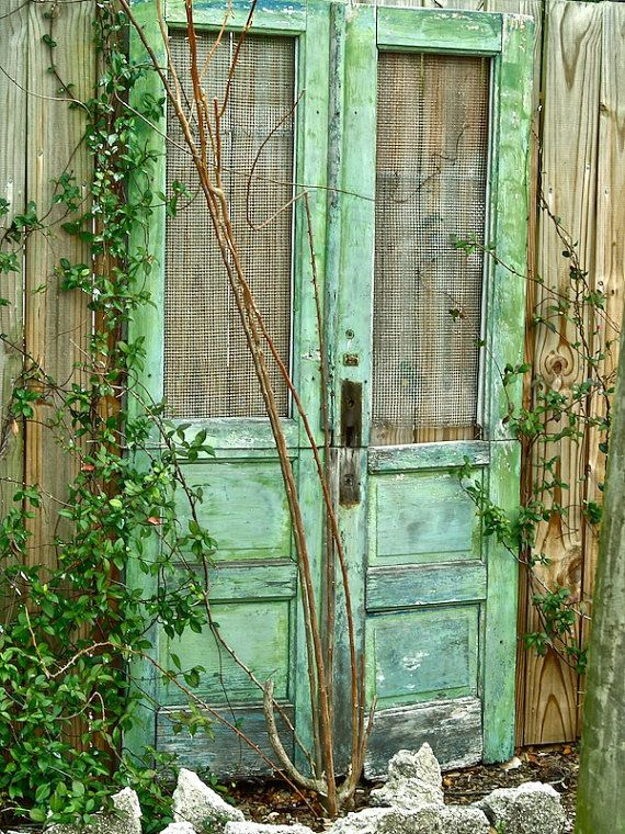 Door Photography Old Doors Garden Travel Green Cottage Fine Art Shabby Rustic Farmhouse Print