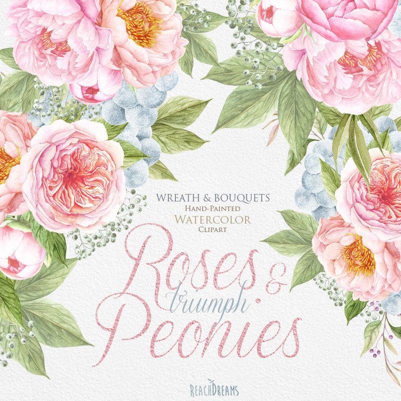 Mazzo Di Fiori Un Inglese.Matrimonio Watercolor Wreath Bouquets Peonie Rosa Inglese