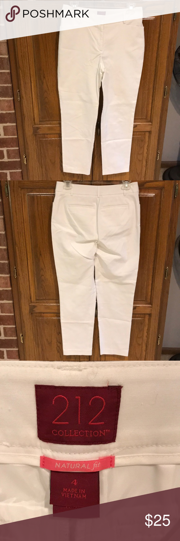 "212 Collection Natural Fit white slacks. 212 Collection Natural fit white slacks.  Like new condition!  27"" inseam 212 Collection Pants Ankle & Cropped #whiteslacks"