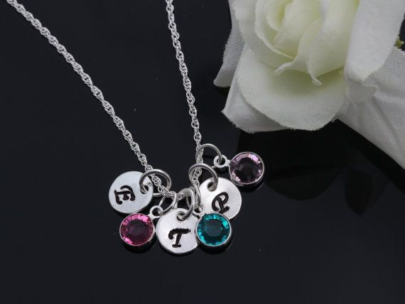 Personalized initials and birthstones Sterling Silver by MonyArt