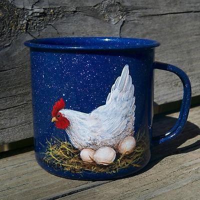 Vtg Enamel Blue Coffee Cu...