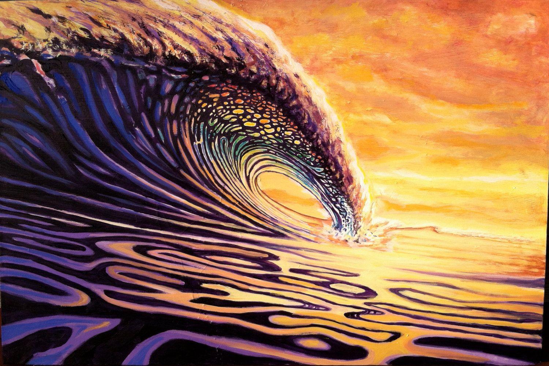 Surf Art Surf Painting Sunrise Sunset Surfing by IanCrossArtist