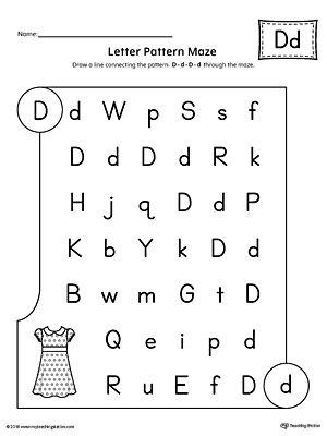 letter d pattern maze worksheet alphabet worksheets pinterestletter d pattern maze worksheet worksheet in the letter d pattern maze worksheet, students follow the pattern d d d d through the maze to reach the final