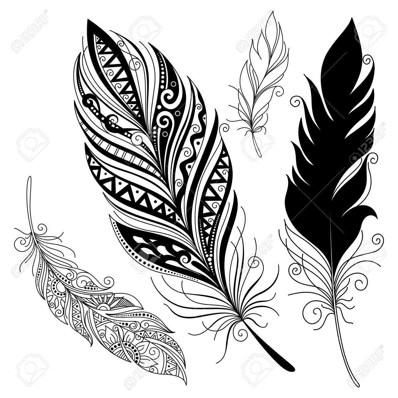 vector peerless decorative feather tribal design tattoo