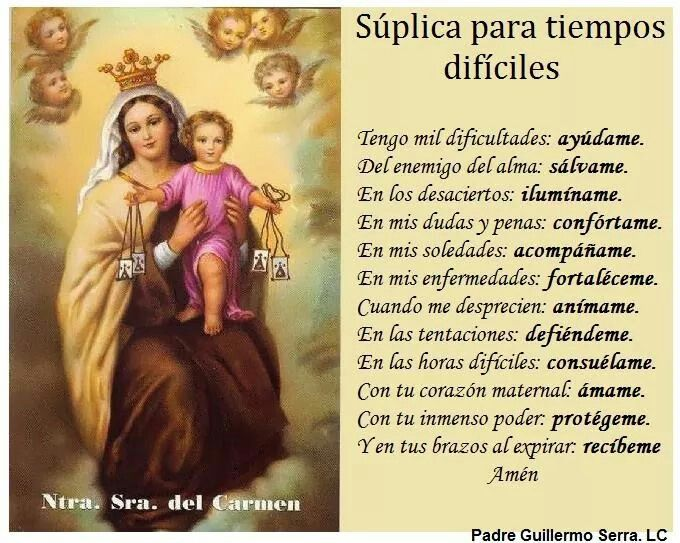 Virgen Del Carmen Frases Pinterest Prayers Virgin Mary Y Faith
