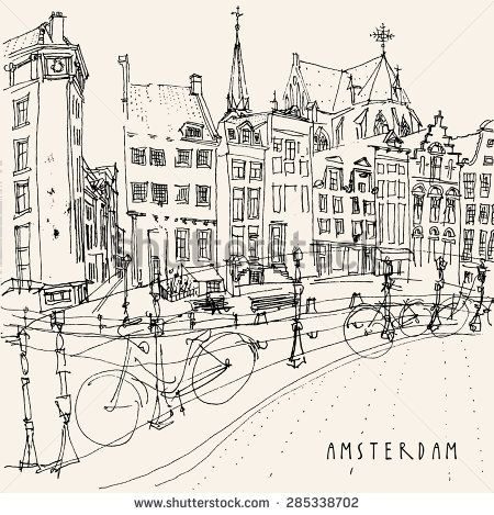 Amsterdam, Holland, Netherlands. View of old center with bicycles ...