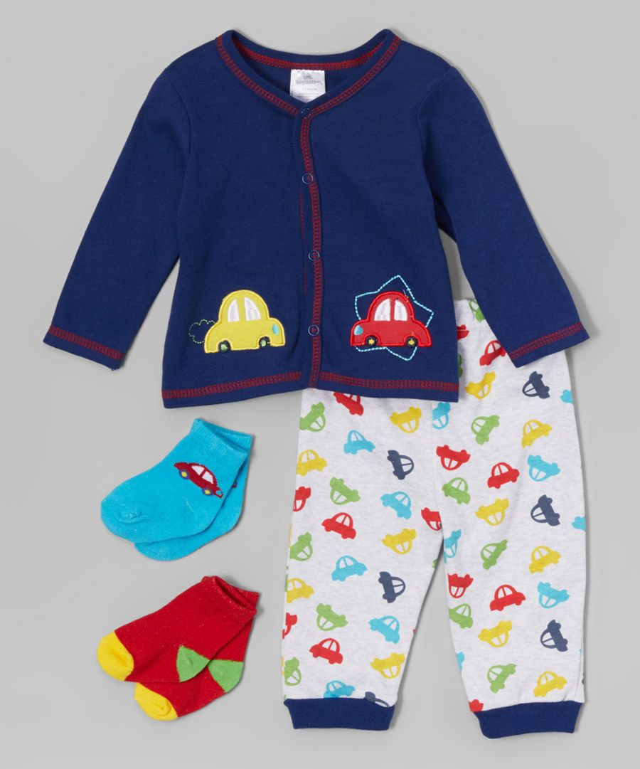 Look at this Little Beginnings Navy Car Cardigan Set on #zulily today!