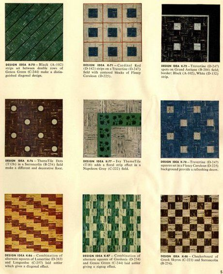 30 Authentic 1950s Vinyl Floor Tile Patterns A Catalog Of Fun And Exciting Patterns Perfect For Basement Rec Room Vinyl Flooring Retro Renovation Tile Floor