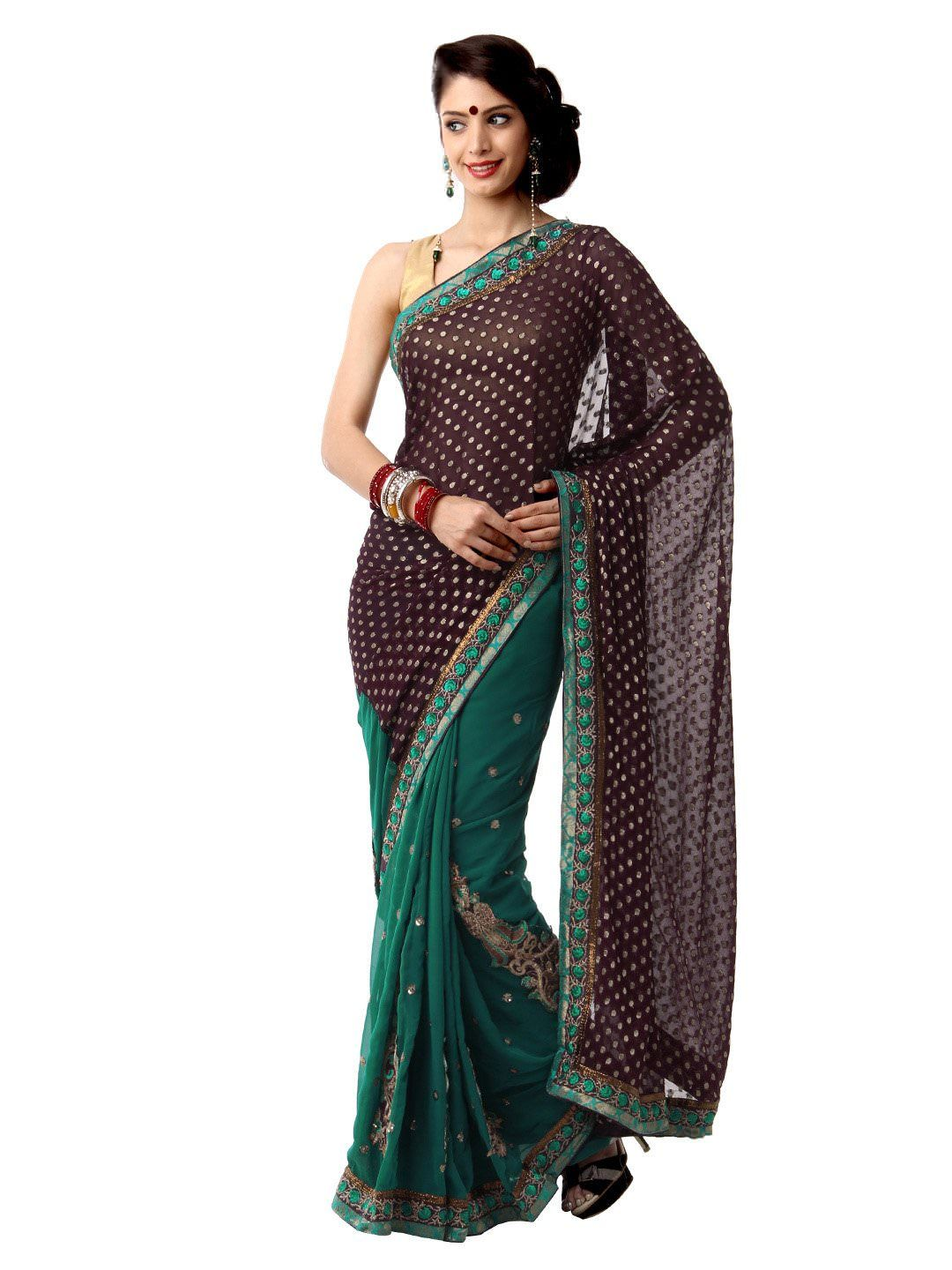 f42db5c18f3 Bridal Sarees Online Mysilk Burgundy   Green Embroidered Fashion Saree   Lowest  Price from Myntra PRODUCT DESCRIPTION STYLE NOTE Of course you want to look  ...