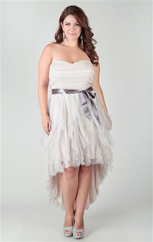 Cute hi low country wedding dresses plus size glitter ruffle high low homeing dress with side