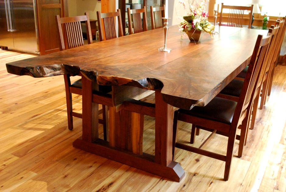 Slabs Of Claro Walnut Were Crafted Together Maintaining Live Edges Awesome Plank Dining Room Table Decorating Design