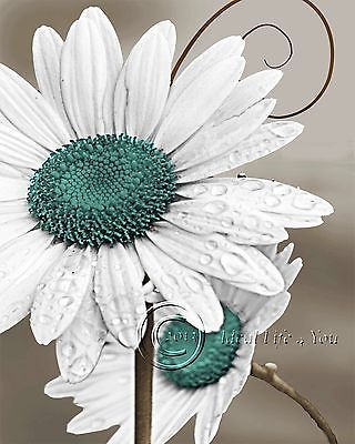 Daisy Left   Teal Floral Home Decor Picture Wall Art Living Room