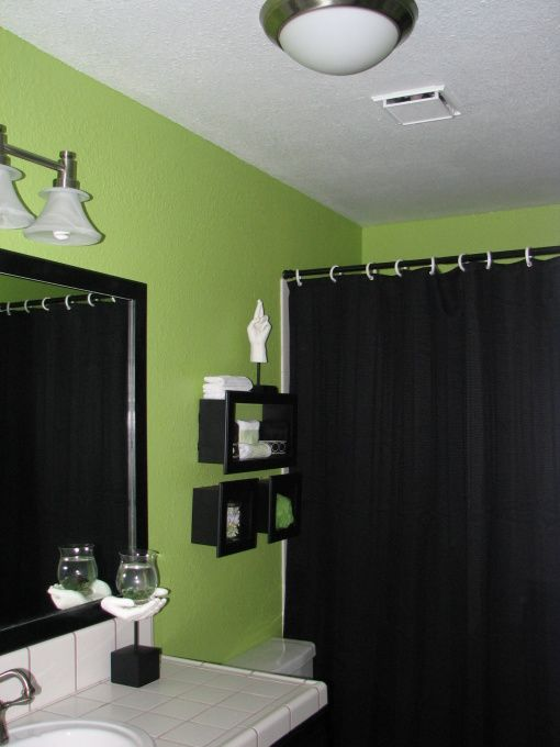 Master Bathroom Maybe Not Lime But Green Walls With Black Accent