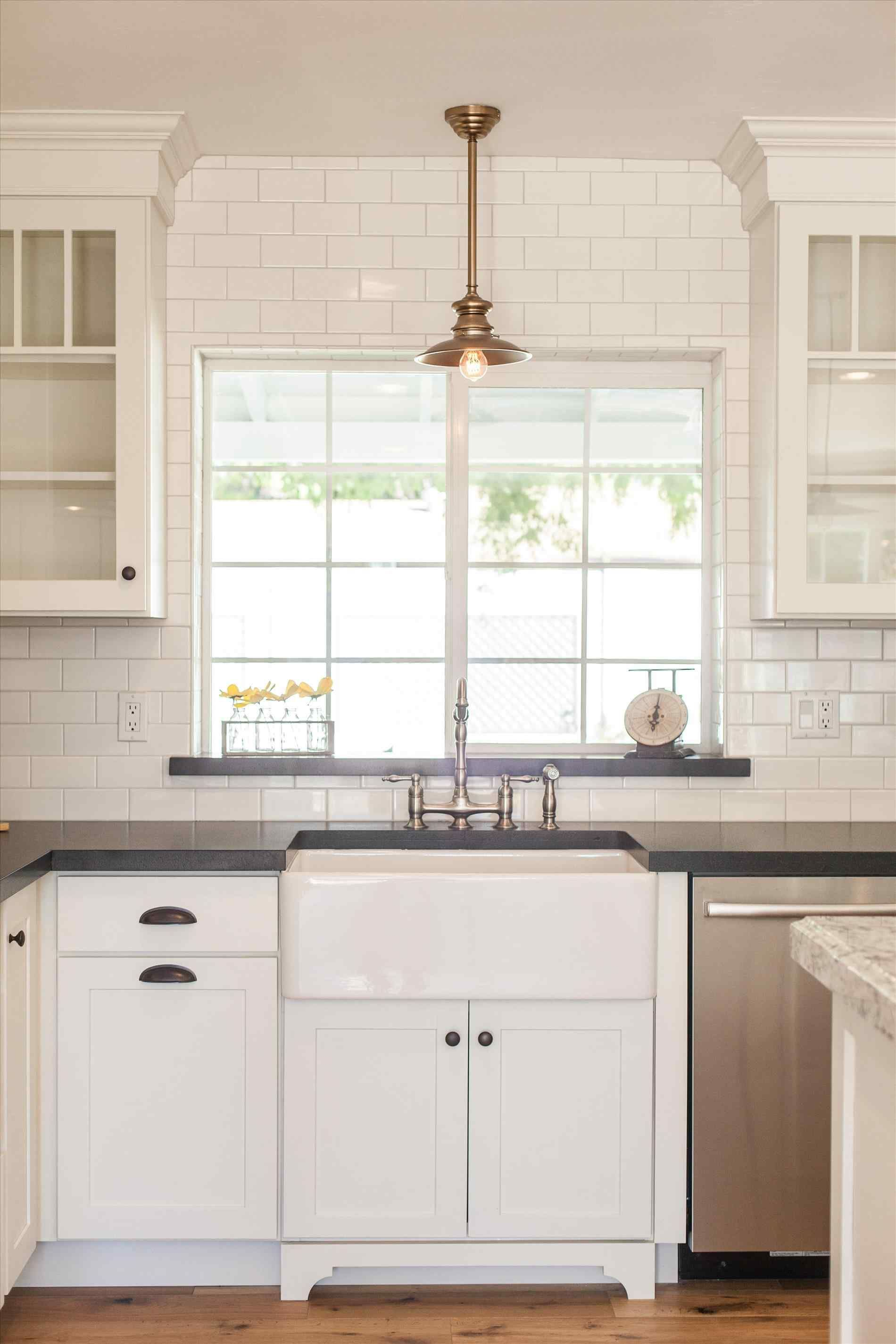 Tile around window in kitchen Rustic kitchen sinks
