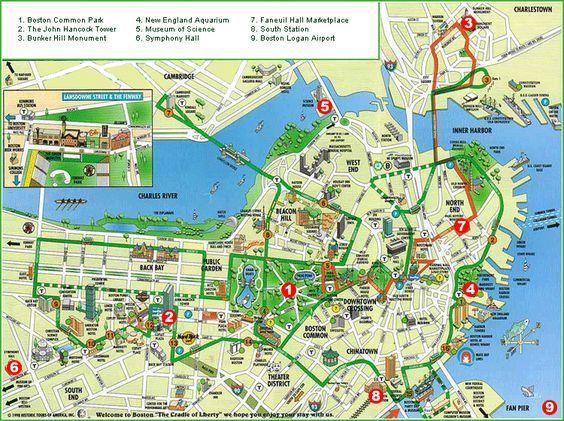 Printable Boston Tourist Map here is a boston tourist map that