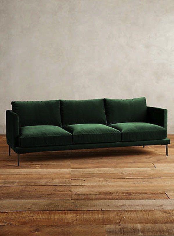 The Hunt For A Non Velvet Green Sofa Green Sofa Green