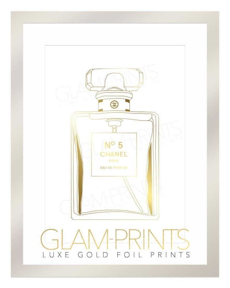 Gold Foil Wall Art make pretty planner stickers! no 5 chanel perfume bottle gold foil