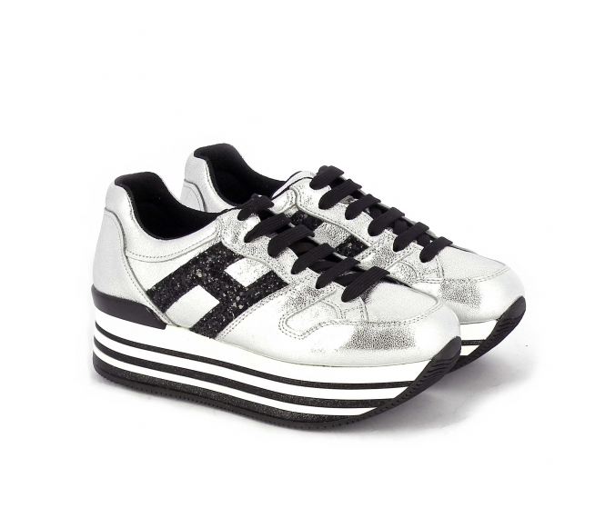 Hogan donna sneaker maxi h222 in pelle metal 68922fd1118