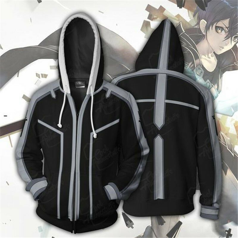 Sword Art Online Kirigaya Kazuto Cosplay Costume 3D Jacket Hoodie Sweatshirt