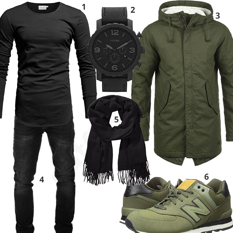 Grün-Schwarzes Herrenoutfit mit Parka und Schal (m0781)  fossil  parka   longsleeve  jeans  outfit  style  herrenmode  männermode  fashion   menswear  herren ... ebc71ccd39
