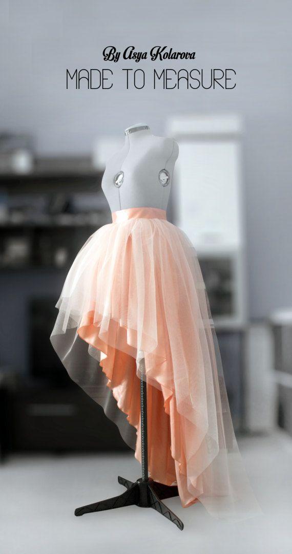 78c8beeedc Tulle wedding skirt High low ball gown skirt Blush layered skirt Peach tutu  Prom dress separate Formal taffeta skirt Bridesmaid's skirt in 2019 |  Flower ...
