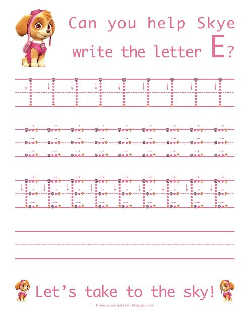 learn to write the uppercase letter e with skye from paw patrol life as a moore pre k. Black Bedroom Furniture Sets. Home Design Ideas