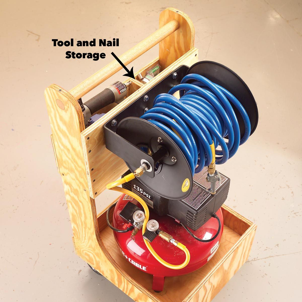Air Compressor Cart Woodworking Craft storage cart