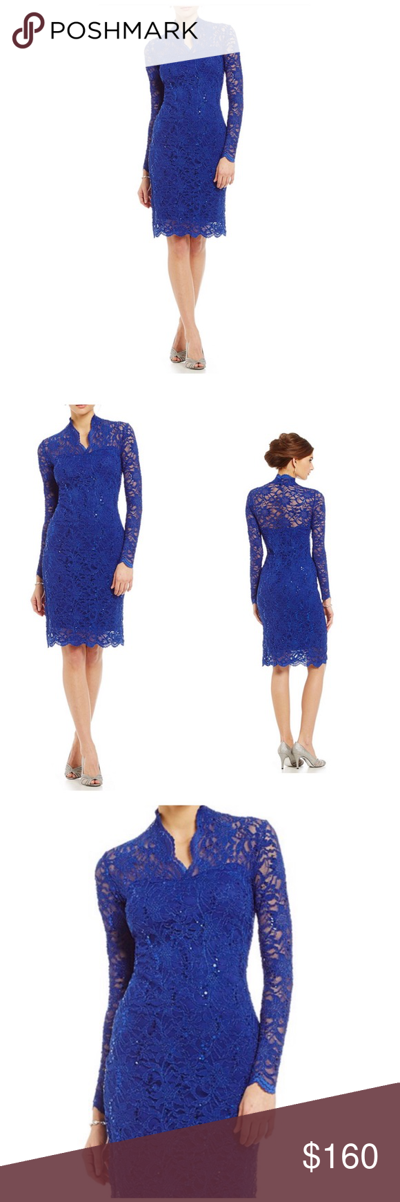 098ec20b Marina Long-Sleeve Sequin Lace Dress Royal Marina Long-Sleeve Sequin Lace  Dress Royal