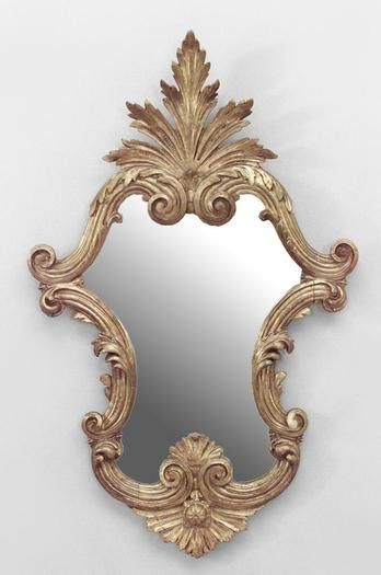 Italian Rococo Gilt Carved Wall Mirror, Vintage Brass Rococo Wall Mirror