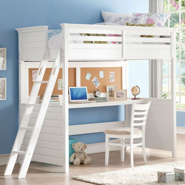 Lacey White Twin Loft Bed With Desk And Cork Board Twin Size Loft Bed Twin Loft Bed Loft Bed Desk