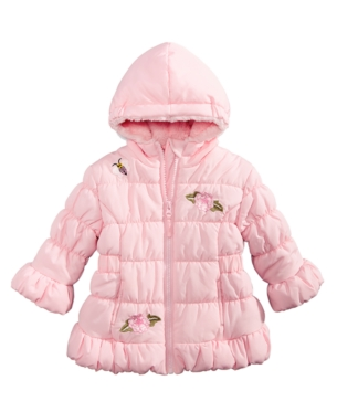 ffe80102964d S Rothschild   Co Baby Girls Hooded Bubble Jacket - Pink 12M