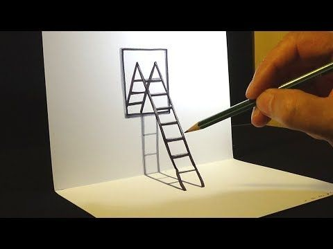 Trick Art On Lined Paper Drawing Half Sphere Optical Illusion
