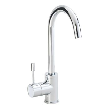 round single lever kitchen sink tap with swan neck and swivel spout - Kitchen Sink Tap