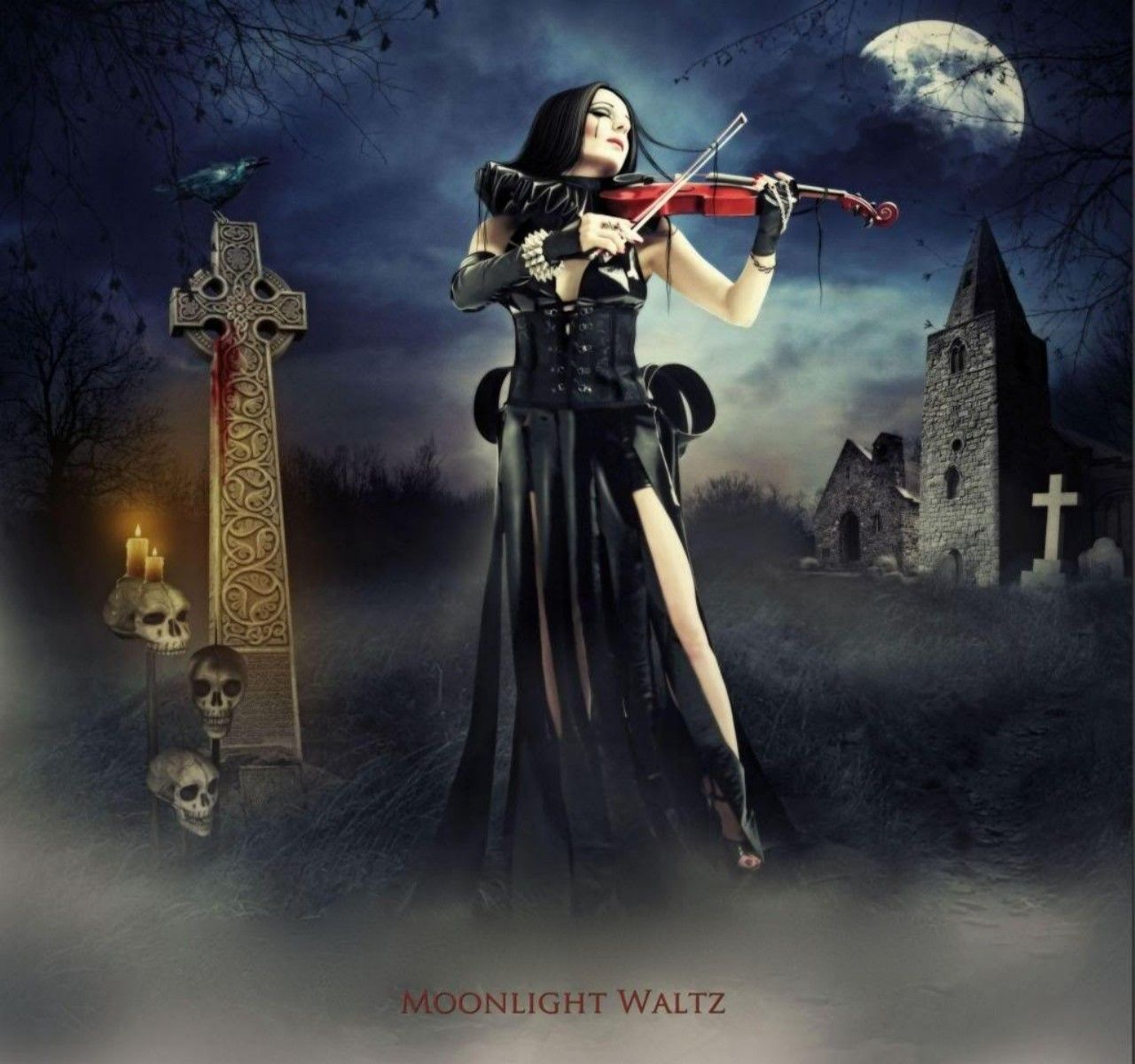 , DARK, FEMALE, GOTHIC, MOON, MOONLIGHT, MUSIC, NIGHT, VIOLIN, WALTZ