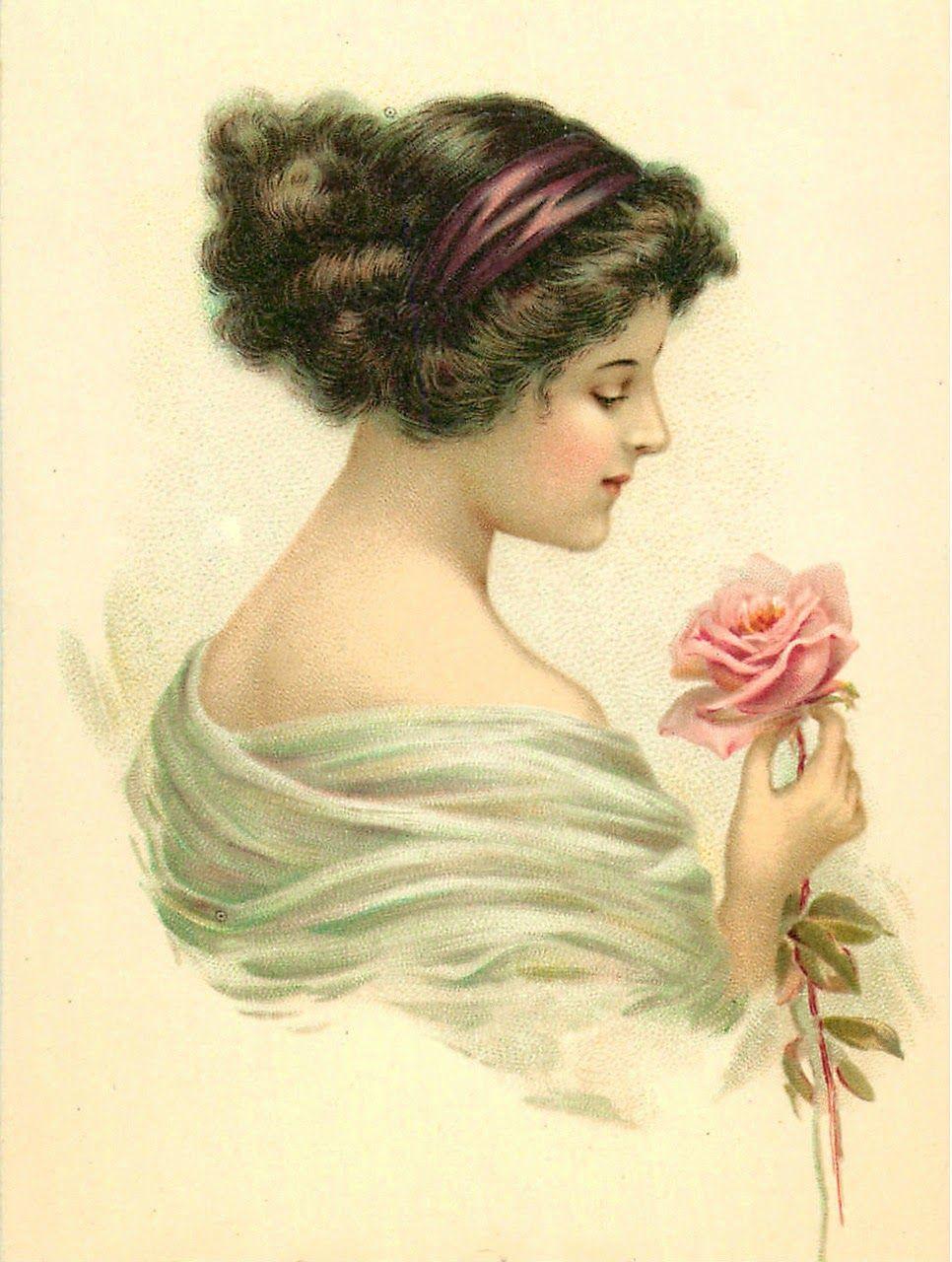 Картинки, винтажные открытки женщине