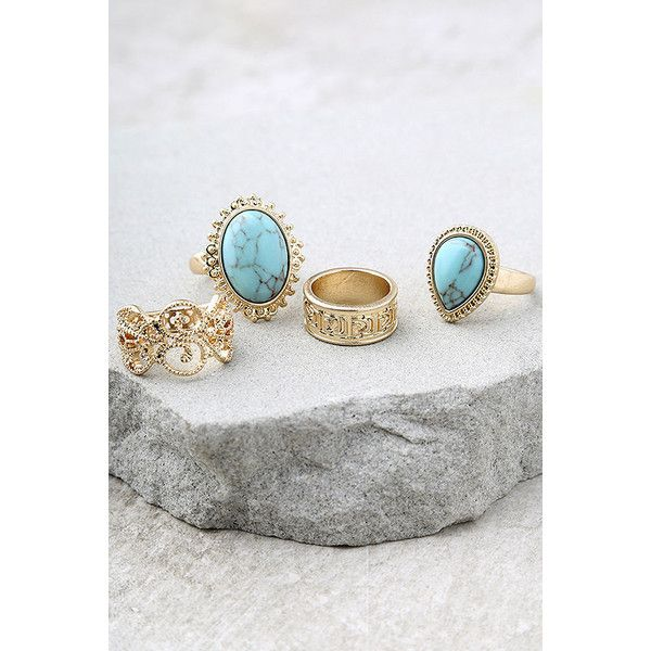 Boho Beauty Turquoise and Gold Ring Set $17 ❤ liked on Polyvore