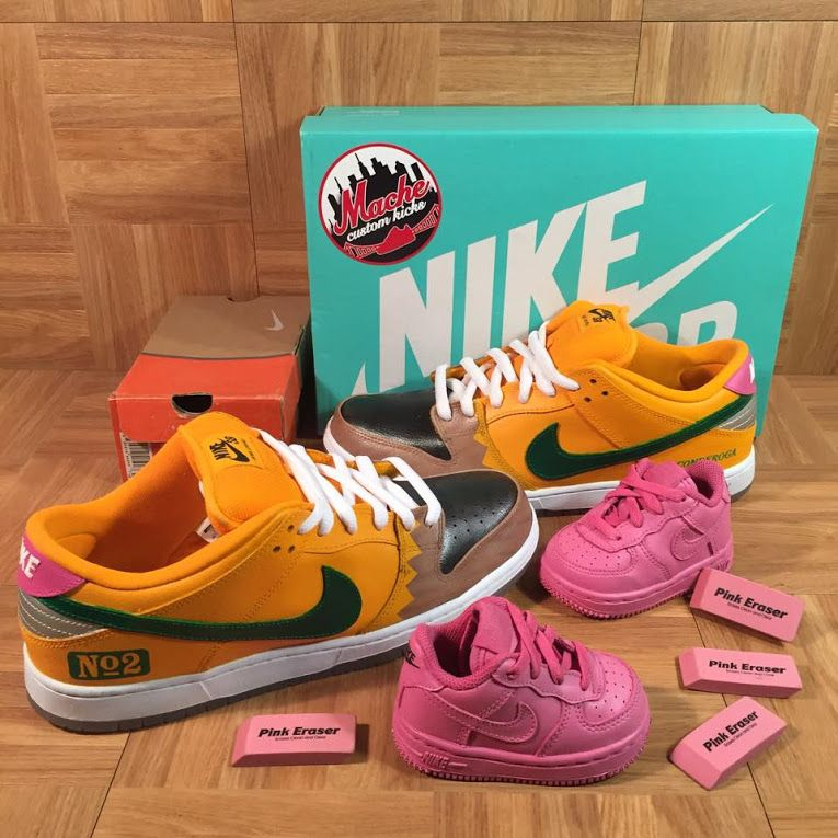 ae37e62ddf5 Pink Eraser Nike Air Force 1 s   Number 2 Pencil Dunks by Mache  sneakers   sneakerhead