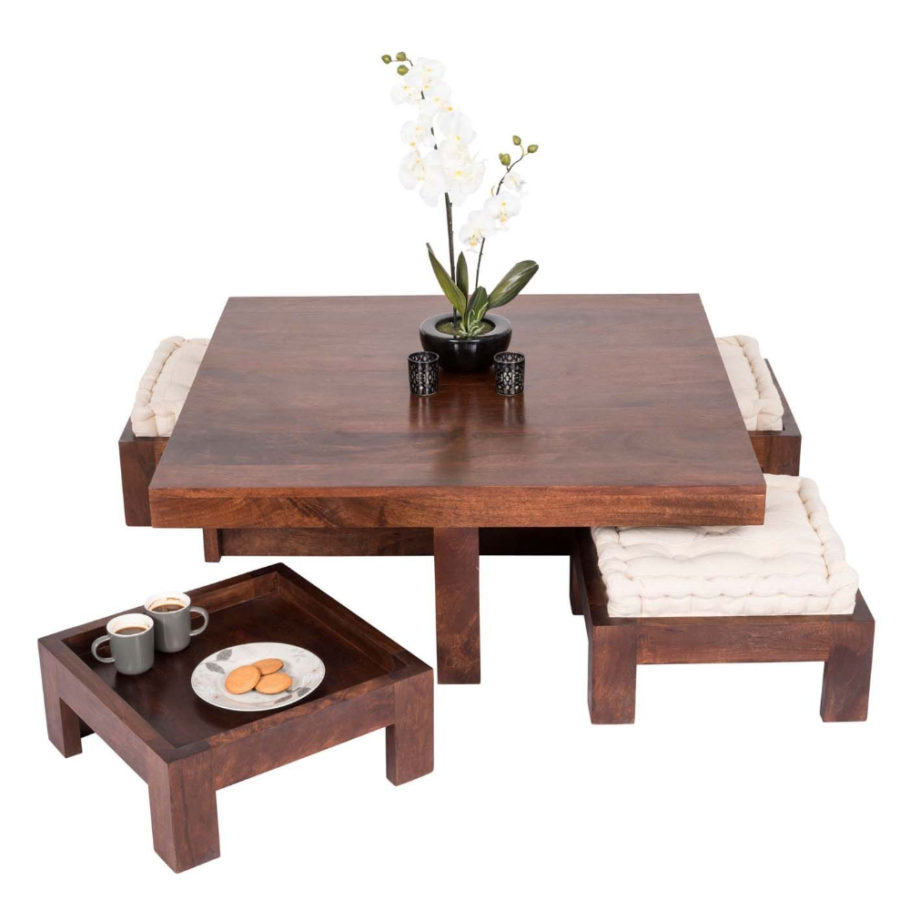 Dark Shade Dakota Coffee Table Set With Four Stools 100 Solid Wood Coffee Table With Seating Coffee Table Modern Square Coffee Table [ 1000 x 1000 Pixel ]