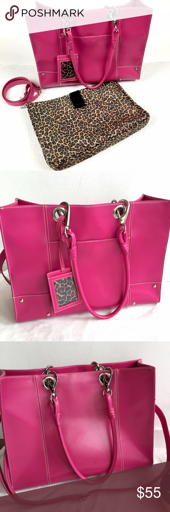Wilson's Leather Hot Pink Tote Pink tote, Wilsons