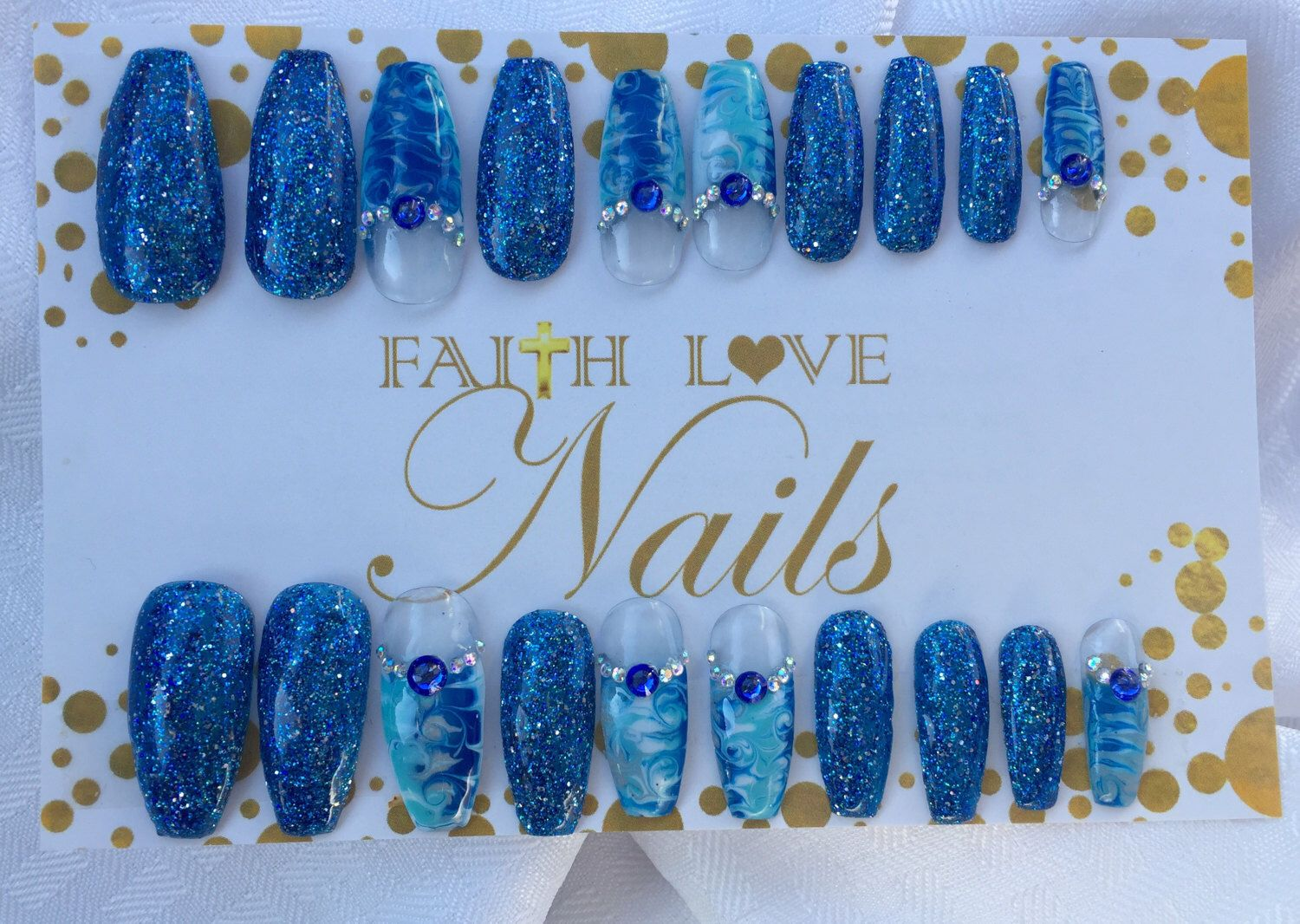 Blue WaterMarble Press On Nails | Fake Nails | False Nails ...