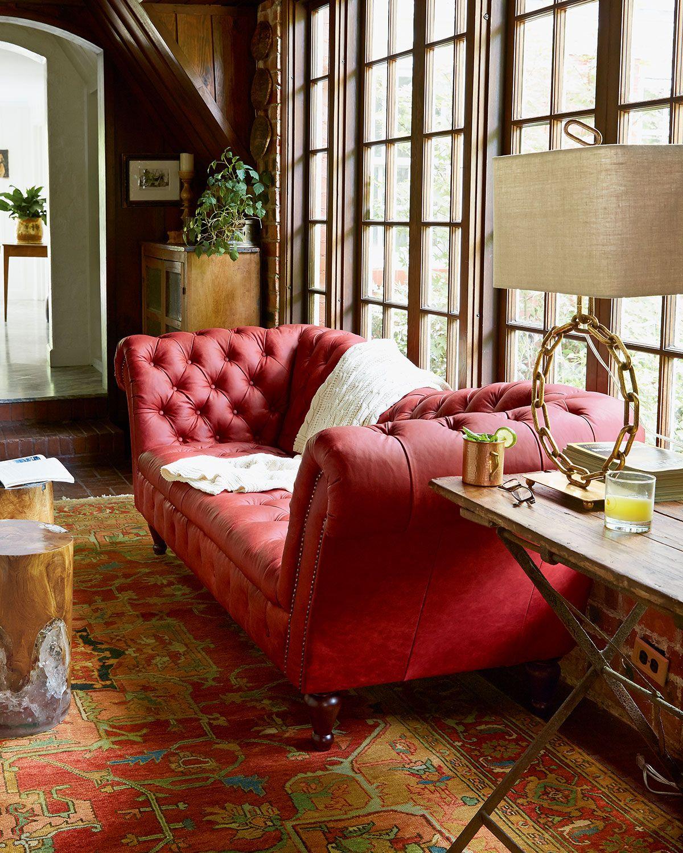 Berry Leather Recamier Sofa