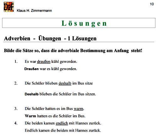 Deutsch als Fremdsprache DaF DaZ Grammatik - Adverbien | Ich lerne ...